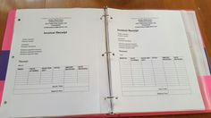 Daycare invoice sheets