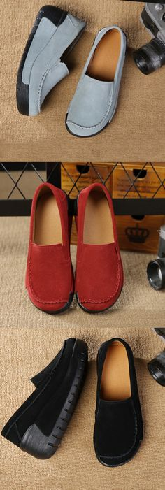 US$33.85 Genuine Leather Platform Slip On Shoes