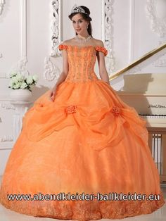 Schulterfreies Ballkleid Brautkleid in Orange
