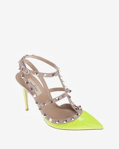 Valentino Rockstud Slingback Patent Leather Stiletto: Yellow