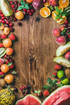 variety Summer fresh fruit variety over rustic wooden background top view copy space horizontal composition Drink Photo, Fruit Photography, Rustic Background, Food Wallpaper, Summer Fresh, Nutrition, Healthy Fruits, Menu Design, Food Design