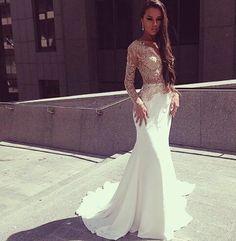 Bg1330 Charming Prom Dress,White Mermaid Prom Dresses,Long Sleeves