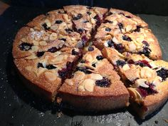 Blackberry, almond and dark chocolate cake