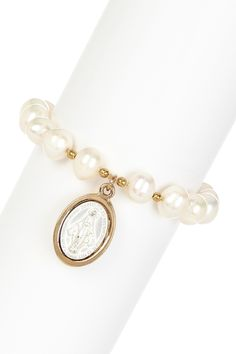 virgin medallion pearl bracelet