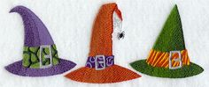 Embroidered Linen Kitchen - Bathroom Hand Tea Towel with YOUR CHOICE of Colored Border - Halloween Witch Hats. $9.99, via Etsy.