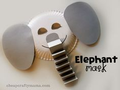 """""""E"""" is for Elephant- Elephant mask alphabet craftmade from paper plates! from Cheap Crafty Mama! Zoo Crafts, Alphabet Crafts, Daycare Crafts, Letter A Crafts, Animal Crafts, Crafts For Kids, Circus Crafts, Paper Plate Masks, Paper Plate Art"""