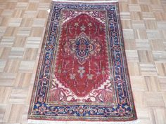 3 x 5  Hand Knotted Rust/Navy Blue Serapi Heriz Oriental Rug on Etsy, $149.00