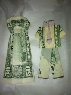 wedding gift - money suit and dress.