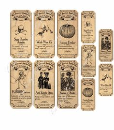 Discover thousands of images about Survivng Halloween Apothecary Labels Stickers 2 Sizes Scrapbooking Crafts Halloween Stickers, Halloween Cards, Holidays Halloween, Vintage Halloween, Halloween Diy, Halloween Decorations, Halloween Printable, Halloween Office, Printable Crafts