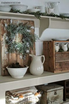 Ironstone and rustic wood.