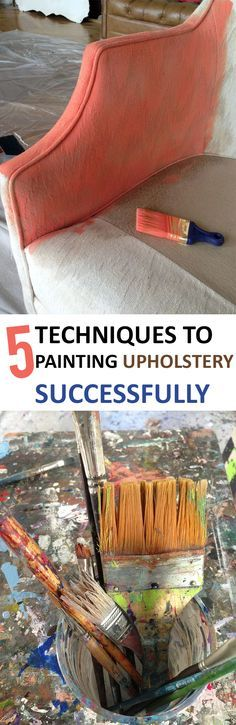 5 Techniques to Painting Upholstery Successfully- how to paint upholstery. Tips and tricks for painting upholstery and upholstered furniture. Awesome ways to paint upholstery, and they're easy! Painting Fabric Furniture, Paint Upholstery, Paint Furniture, Fabric Painting, Diy Painting, Home Furniture, Paint Fabric, Painting Tricks, Upholstery Repair