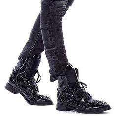 Black Beaded Leather Lace Up Punk Rock Motorcycle Boots for Men SKU-1280653