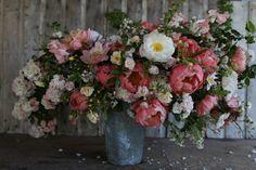 Peach Roses and Coal Peonies