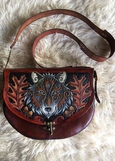 Hand tooled, embossed artwork with animals such as Fox, Hare, Stag designs. Leather Carving, Leather Art, Leather Tooling, Leather Purses, Costume Bags, Craft Bags, Unique Bags, Leather Pattern, Leather Bags Handmade