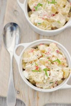 Summer Potato Salad - Use a regular red pepper instead of a roasted red pepper. Mayo, sour cream, vinegar, pickle, red pepper, red onion, celery, apple, boiled egg, chives, dried herbs.