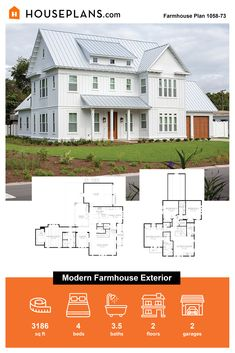 Looking for a modern farmhouse exterior? Check out this sweet house floor plan! Click the image or more details. What's your favorite feature? Questions? Call 1-800-913-2350 today. #blog #architecture #modern #bungalow #architect #architecture #buildingdesign #country #craftsman #houseplan #homeplan #house #home #homeblog Modern Farmhouse Exterior, Farmhouse Design, Farmhouse Style, Farmhouse Decor, Sweet House, Modern Bungalow, Building Design, House Floor Plans, Craftsman