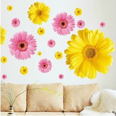 2Set 100*80cm Gold&Pink Flower Living Room Vinyl Wall Decals Window Stickers To The Kitchen Bedroom Decor Shelf 3D Wallpapers