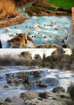 Saturnia, Italy it looks so nice being in those warm and healing waters. Beautiful Places In The World, Places Around The World, The Places Youll Go, Wonderful Places, Places To See, Around The Worlds, Dream Vacations, Vacation Spots, Saturnia Italy