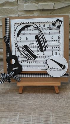 Carte Anniversaire by fandan Birthday Cards For Boys, Masculine Birthday Cards, Masculine Cards, Guitar Crafts, Music Crafts, Boy Cards, Kids Cards, Musical Cards, Birthday Card Drawing