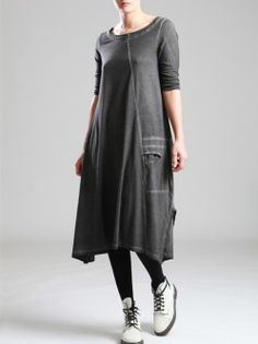 COTTON DRESS WITH UNEVE DYE
