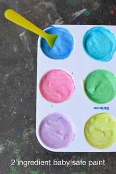 2 Ingredient Paint for Babies and Toddlers | all you need is some plan or vanilla yogurt and food coloring. An it's ok if the eat it because it edible.