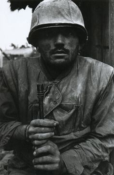 Don McCullin - 'Shell-shocked US soldier awaiting transportation away from the front line'  Hue, Vietnam, 1968