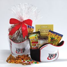 You provide the baseball hats, construction hats, cowboy hats, etc. and we will fill with this popular assortment of gourmet foods. Includes peanut butter filled pretzels, California smoked almonds, chocolate hazelnut filled wafer cookies, Jambalaya savory snack mix and Jelly Belly candy. Great for sporting events, golf tournaments, room drop gifts, corporate meetings and marketing initiatives! Additional custom options available to suit budget. Minimum 36 gifts