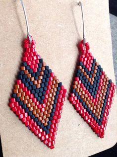 Beadwork Earrings. Beaded Earrings. Native American Style Earrings ...