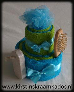 Handdoektaart Groen/Aqua / Towel Cake Green/Aqua