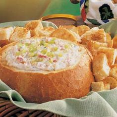 Dip Recipes 47498971041683010 - Baked Crab Dip ~ Made this for the party last night. another huge hit. I didnt bake it in bread bowl, and I served it with sliced baguettes and tortilla chips. another definite keeper. Crab Dip Recipes, Seafood Recipes, Appetizer Recipes, Cooking Recipes, Cooking Tips, Milk Recipes, Yummy Appetizers, Baked Crab Dip, Hot Crab Dip