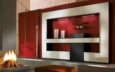 Custom design and wall paneling combination give this wall a quick and sensible facelift. It also functions as a wall partition. A beautiful dual purpose piece. Living Room Red, Living Room Decor, Decor Interior Design, Interior Decorating, Decorating Ideas, Red Appliances, Living Room Storage, Living Room Designs, Modern Furniture