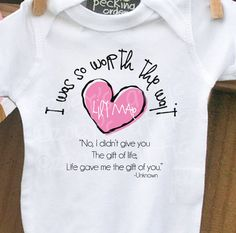 personalized onesie -I Was So Worth the Wait heart adoption quote onesie- adorable way to announce an adoption or makes a great gift. $16.50, via Etsy.