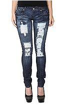 Judy Blue Indigo Destruct Skinny Jeans Sku 718373