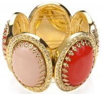 Coral and Tangerine Stretch Bracelet - Tangerine, coral, and crystal-colored glass and resin inlays with shiny twelve-karat gold-plated backing.