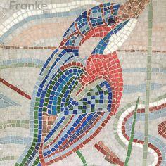 Bild mit kleinsten Mosaiksteinen #Mosaik #basteln #Handwerk #Kunst #Franke #Vogel #Fliesen