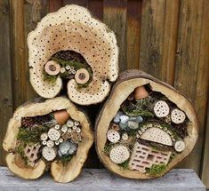 Insektenhotel im Baumstamm. Als Ausgangsmaterial dienen ca. Insect hotel in the tree trunk. The starting material is about 30 to high tree trunk sections. The diameter sho Garden Bugs, Garden Insects, Garden Pests, Garden Art, Bug Hotel, Mason Bees, Little Gardens, Beneficial Insects, In The Tree
