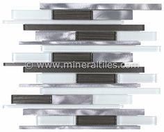 Mineral Tiles - Aluminum Glass Mosaic Tile Millennium, $24.95 (http://www.mineraltiles.com/aluminum-glass-mosaic-tile-millennium/)