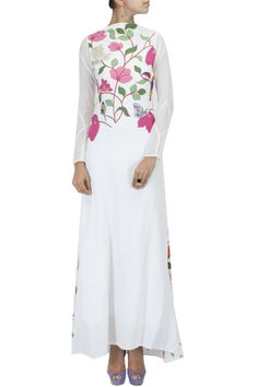 White bird embroidered floor length dress by PURVI DOSHI