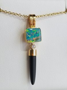 gold pendant by artist Patrick Murphy, set with an opal doublet, diamond, and onyx. Jewelry Crafts, Jewelry Art, Jewellery, Patrick Murphy, Gold Pendant, Pendant Necklace, Study Design, Doublet, Handcrafted Jewelry