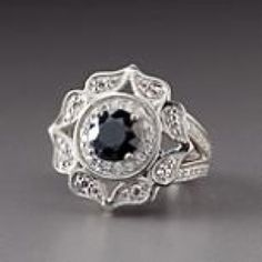 Sterling Silver Jose Hess Black Floral Art Deco Ring by Lenox