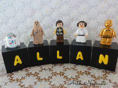 Cubos em madeira, personalizados com nome e personagens Lego Star Wars em biscuit