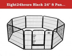 "Eight24hours Black 24"" 8 Panel Heavy Duty Pet Playpen Dog Exercise Pen Cat Fence. Product Description :: This is a brand new heavy duty pet playpen. It is extremely durable and water/stain resistant. You can connect multiple playpens together and set up as a rectangle or octagon. Suitable for a variety of pet indoor or outdoor use. Features :: Brand New Easy to set up and no tools required Eight Panels (32"" Width x 24"" Height each panel) One Doors with lock Strongest heavy duty dog fence…"