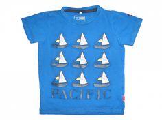 Maat 80 T-shirt Blauw met bootjes  Merk Name it
