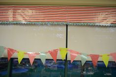 Carnival Theme - Schoolgirl Style added CTP's Dots on Turquoise border to decorate her curtain!