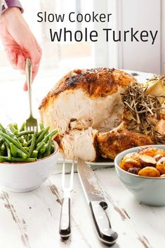 Need all the oven space you can get this Thanksgiving? Try this slow cooker whole turkey! Great for beginner cooks and small gatherings! Slow Cooker Whole Turkey, Whole Turkey Recipes, Inexpensive Meals, Easy Meals, Thanksgiving Recipes, Holiday Recipes, Bbq Roast, Turkey Platter, Turkey Stuffing