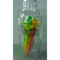 """Mini Martini Tee Shaker with 10 Assorted Color Tees by AMA Golf. $16.04. Martini Golf Tee Larger cup size makes it extremely easy to tee the ball up. Tees lean forward for lower reistance at impact. Very durable, Easy to see colors. 3-1/4"""" - Mini Martini Shaker w/ 10 tees"""