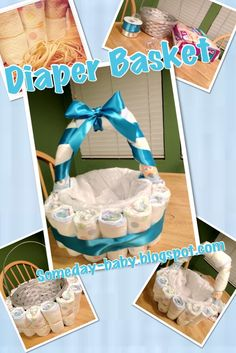 Diaper Basket Tutorial: Make a cute diaper gift for a baby shower with this DIY craft! Regalo Baby Shower, Idee Baby Shower, Bebe Shower, Baby Shower Crafts, Baby Shower Diapers, Baby Boy Shower, Baby Shower Gift Basket, Diaper Cakes Tutorial, Cake Tutorial