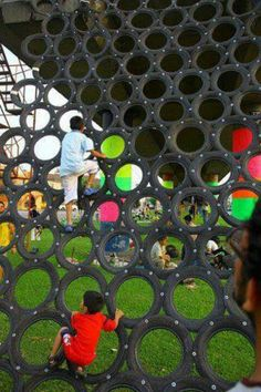 20 Ideas of How To Reuse And Recycle Old Tires. This is pretty sweet! - 20 Ideas of How To Reuse And Recycle Old Tires… This is pretty sweet! Reuse Old Tires, Reuse Recycle, Upcycle, Tire Playground, Playground Design, Playground Ideas, Cool Playgrounds, Natural Playgrounds, Tire Craft