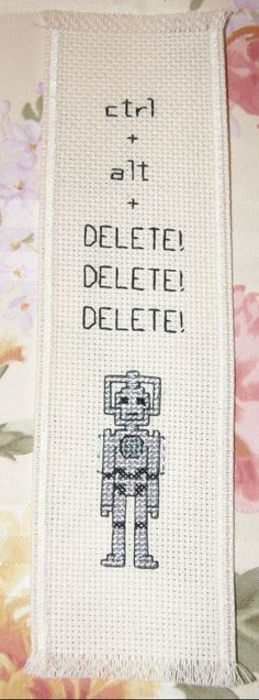 """ctrl + alt + DELETE! DELETE! DELETE!"" This design would make a perfect bookmark for any Doctor Who fan."