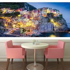 Scenic night view of colorful village Manarola in Cinque Terre  MaMurale.com